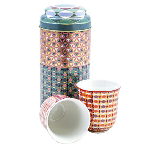 Tin Box mit 2 Kaffee Tassen