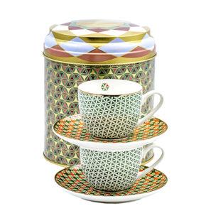 Tin Box mit 2 Kaffee Tassen und Untertasse