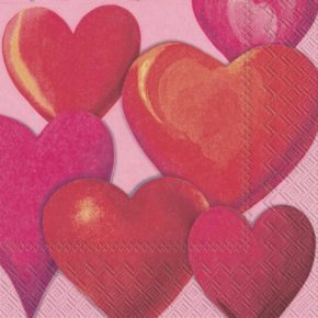 FUNNY HEARTS pink  – Cocktail-Servietten